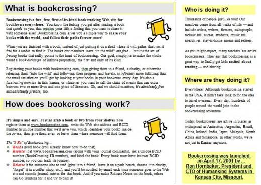 Bookcrossing brochure (a piece of it)