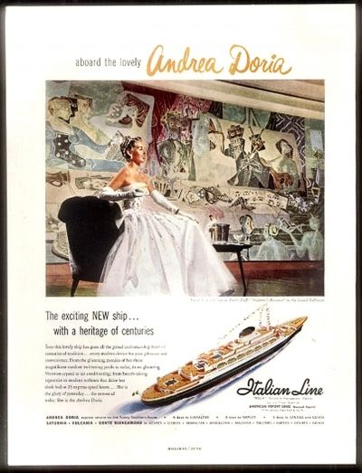 Andrea Doria Travel Advertisement, 1953