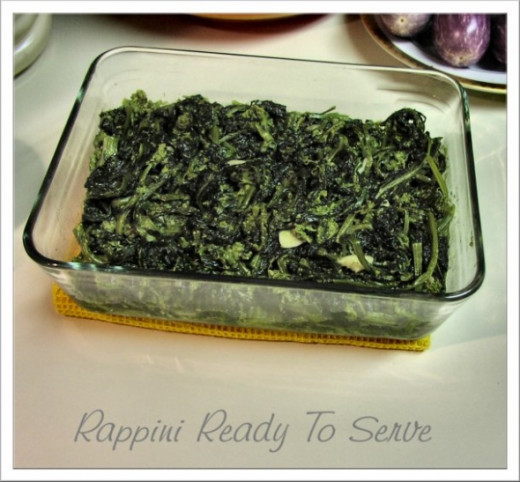 I know the greens are done when almost all the juice evaporates from cooking and the greens are tender from top to bottom.   Rapini (broccoli rabe) is a member of the broccoli family.  When cooked with garlic and salt, the bitterness of the green is