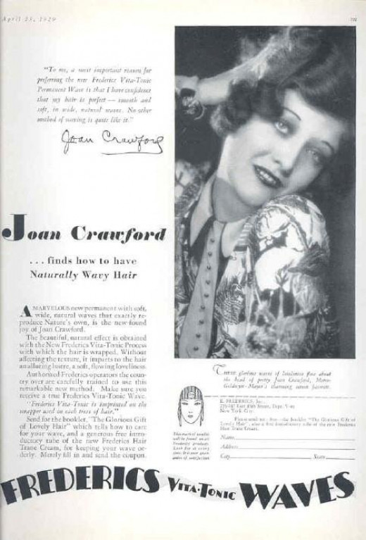 Joan Crawford also sold wavy hair.