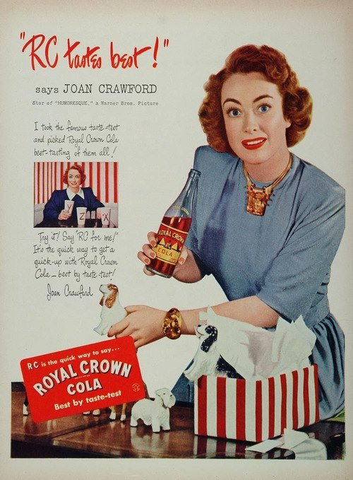 "She had a taste for ""Royal Crown"" cola, too."