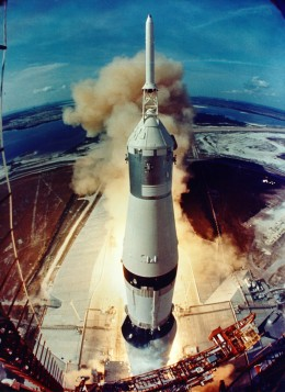 The massive Saturn V lifts off July 16, 1969, powering Apollo 11 into orbit.  credit: NASA