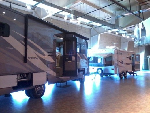 Another view of the Go RVing room, where you can check out some new, full-size, modern RVs and see how the product has evolved from earlier days.
