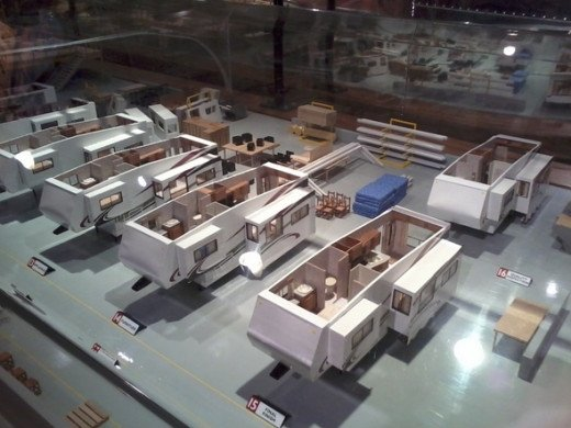 Minature diorama, showing the entire process of constructing an RV. This is fascinating!