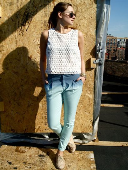 Pair cropped lace top with high-waisted pants.