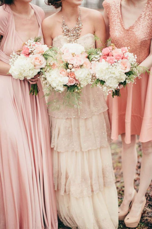 Ballerina Blush and Gold Wedding Gown & Bridesmaid Dresses
