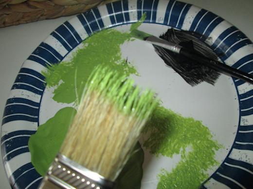 I dabbed until little paint was left on the uneven bristles.