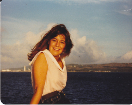 This was me right before my last sunset on Guam. We were flying back to the states that evening.