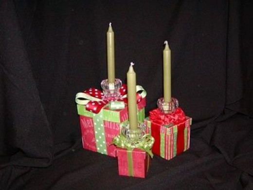 Christmas Centepieces - Boxes with candles