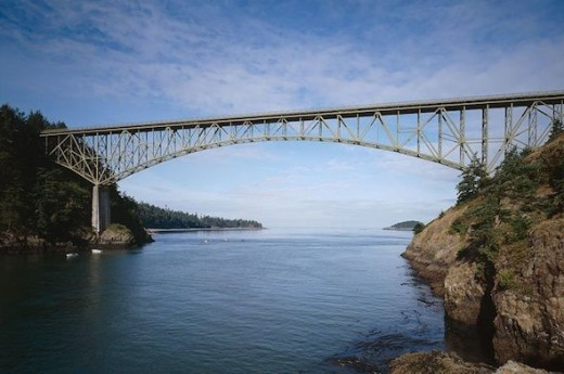 Deception Pass Bridge -  Famous 2 lane bridge that connects Whidbey Island to Fidalgo Island. Bridge width is 28 ft. and height is approx. 180 ft.