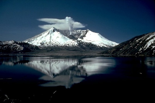 Mount. St. Helen erupted in 1980. Since, 110,000 acres have been decreed the Mount St. Helen's National Volcanic Monument. The photo shows her reflection in Spirit Lake.