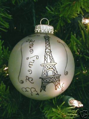 """Another Eiffel Tower and """"Bon Jour"""". Other things your could write on them: Joyeux Noel (Merry Christmas),  and Papa Noel(Santa Claus)."""