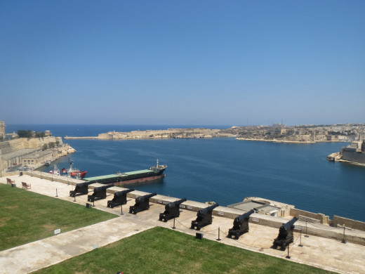 A view of the Grand Harbour from the Upper Barrakka Gardens in Valetta