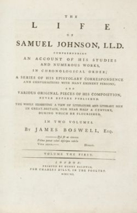 First page of the first edition of Boswell's Life of Johnson
