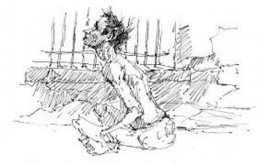 Ben Steele Drawing of Himself in Prison