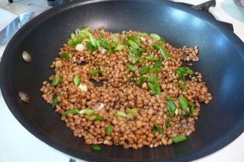 Wheat berries sauteed with spring onion