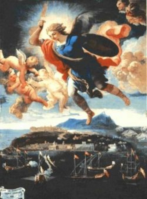 Title of painting (1690):  apparizione di san Michele