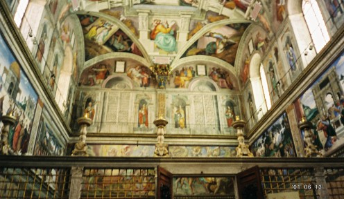 """The opposite wall from """"The Last Judgement"""" & part of the ceiling/walls. A good view of how tall the ceiling really is. Those are 8' doors open at the bottom."""