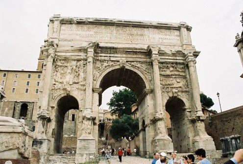 Arch of Septimus Severus. For perspective, look at the people on the bottom...  It's huge!