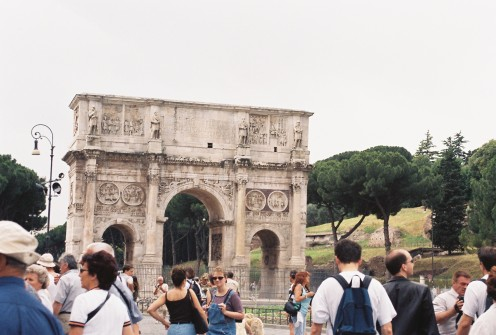 Just outside the Colosseum is the Arch of Constantine, the first Christian Emperor of Rome (although that has been debated). It is one of only three such arches to survive in Rome today. The others are located in the Roman Forum.