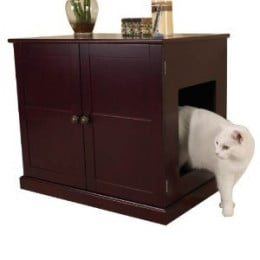 Pet Studio MDF Litter Box Cat Cabinet, Mahogany