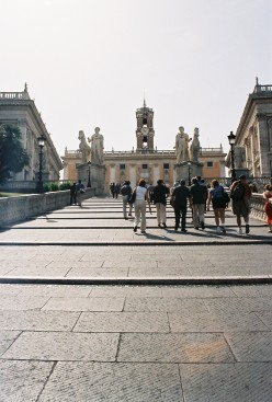 """""""Cordonatta"""" staircase designed by Michelangelo, leading up to Capitoline Hill."""