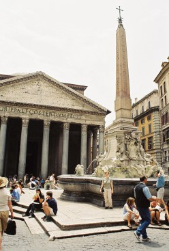 The Pantheon was originally built in 80 A.D. as a temple to all the gods of Ancient Rome, and after being destroyed by a fire, was rebuilt in 126 A.D. during Hadrian's reign. In 609 A.D., Pope Boniface IV converted it into a Christian church.