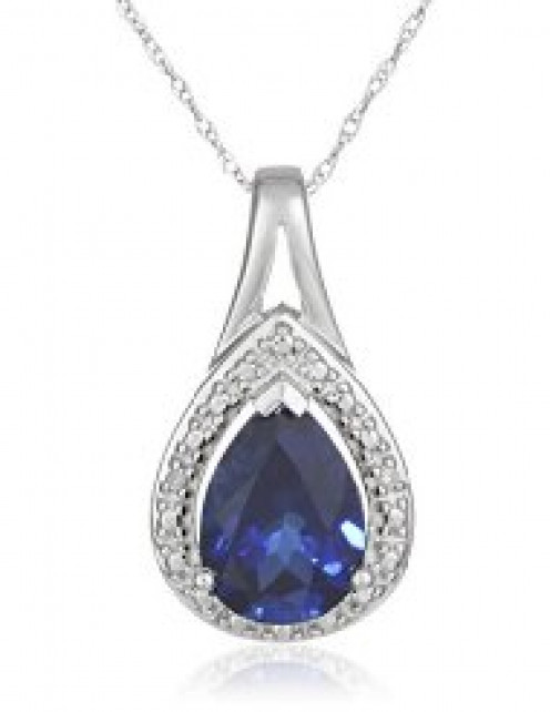 Created Gemstone and Diamond-Accent Pendant Necklace