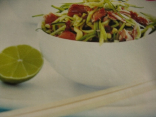 Tuna courgette crispy noodle salad. Photo Credit - Elsie Hagley