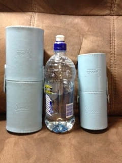 Both sets next to a 750ml Pump water bottle.
