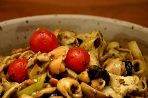 tortellini salad with artichoke hearts, olives, and cherry tomatoes