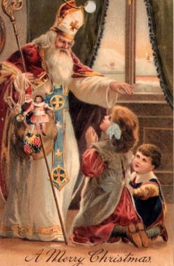St Nicolas giving gifts to children