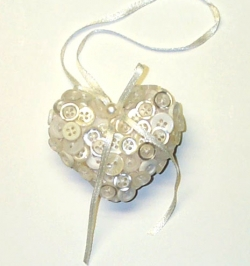Handmade Button Heart Christmas Tree Ornaments
