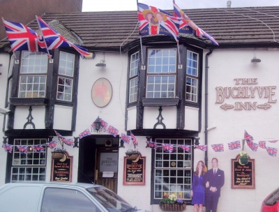 One goes all out in Scotland for Royal Decorating our local pub too!