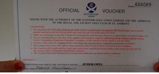 Daughters certificat for the Junior Open