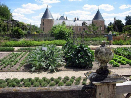 The chateau at Chamerolles seen from the vegetable garden