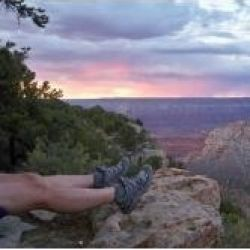 An evening camping at the rim of Grand Canyon -- South Bass trailhead