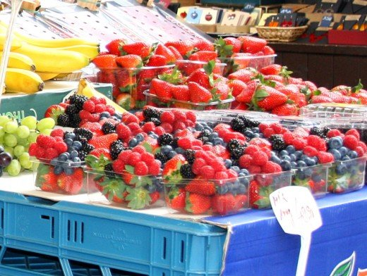Market stall with summer fruit