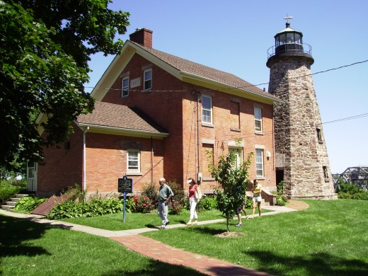 1822 Charlotte Lighthouse and home of lighthouse keeper on Lake Ontario in Rochester, New York