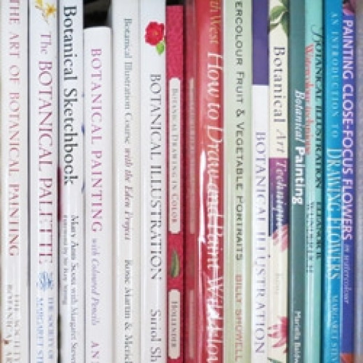 a photo of some of my botanical art instruction books