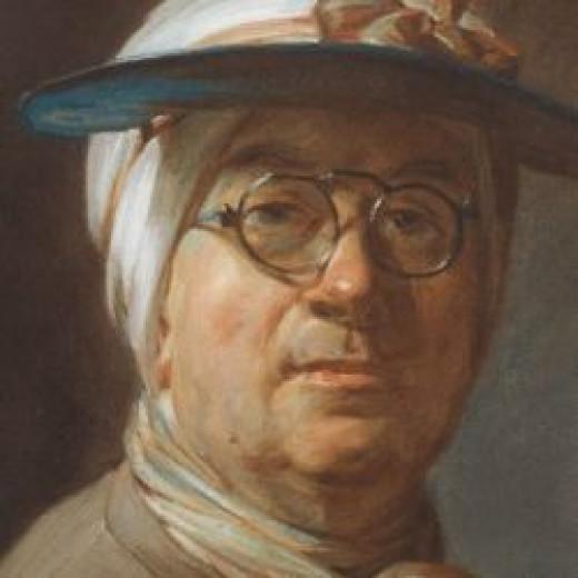 'Self-Portrait with a Visor' by Jean-Baptiste-Simon Chardin (crop)