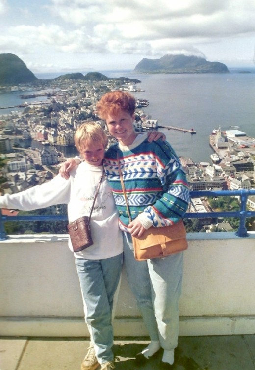 My host sister and little brother overlooking the city of Aalesund.