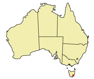 Hobart is marked with a red point on the South East