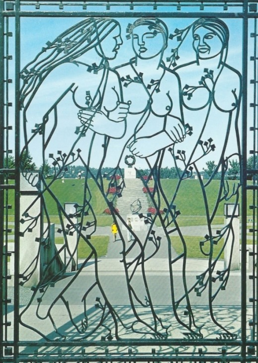 One of the beautiful wrought iron gates (another postcard)