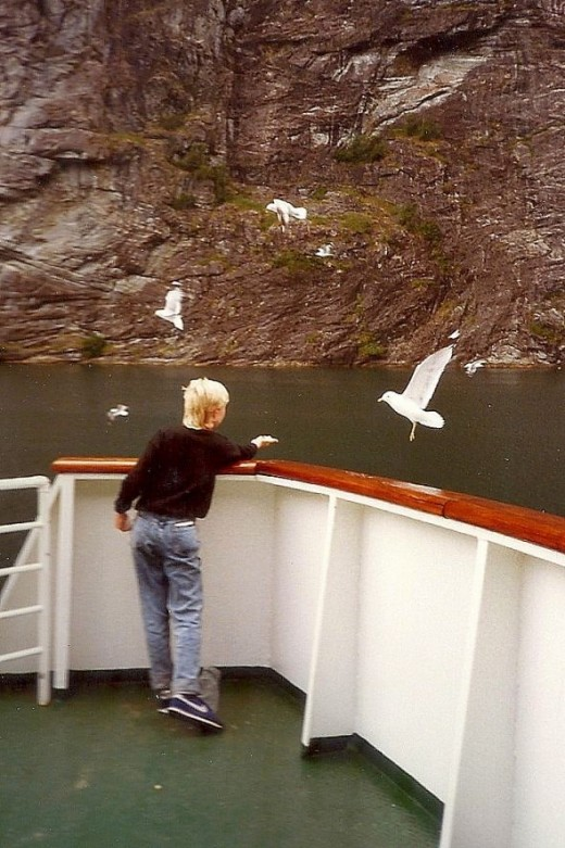On the ferry that tours the fjord and the famous Geiranger waterfalls.