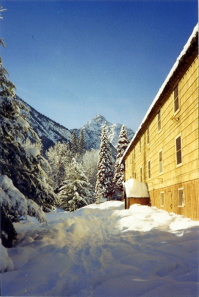 Outside one of the lodges in the village.  Beautiful sun shining on the snow.