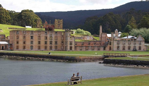 The convict-built penitentiary across Masons Cove at Port Arthur. Photo by Sarah Quine