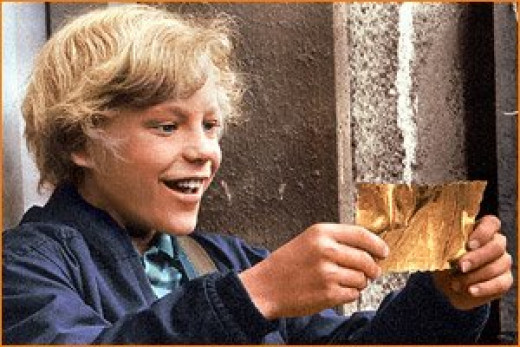 Charlie Bucket finds a golden ticket