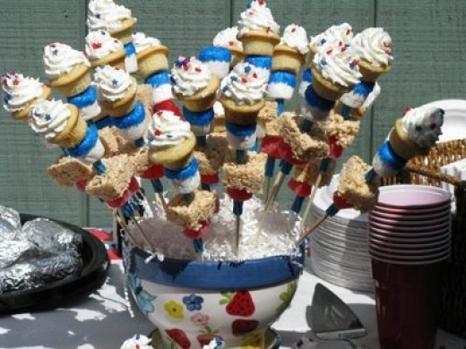 Disco Cupcakes have a Great Display for their Patriotic Themed Kabobs.  can check out their blog here: http://discocupcakes.blogspot.com/2009/07/fourth-of-july-star-spangled-cupcake.html