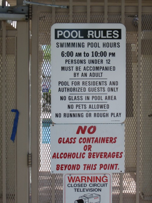 Rules on a pool in a townhouse development